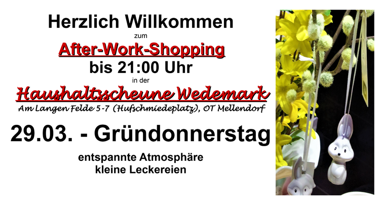 After-Work-Shopping mit 15% Rabatt!